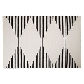 Living & Co Diamond Border Cotton Area Rug White 160cm x 230cm