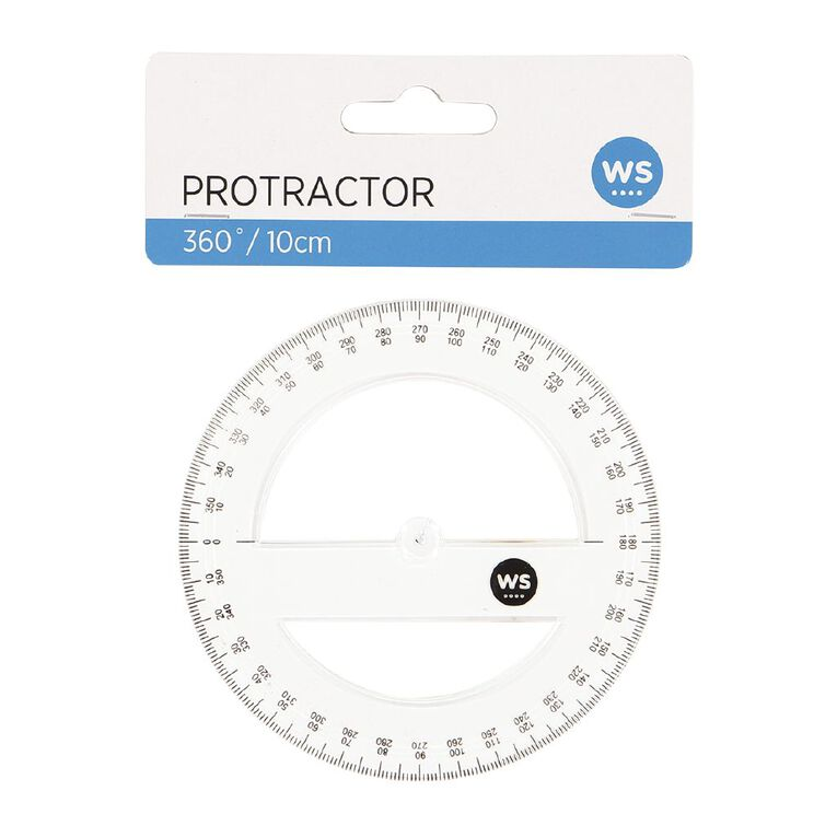 WS Protractor 360 10cm Clear, , hi-res