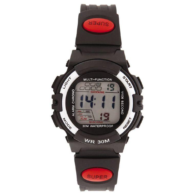 Active Intent Kids' Digital Watch Black Red, , hi-res