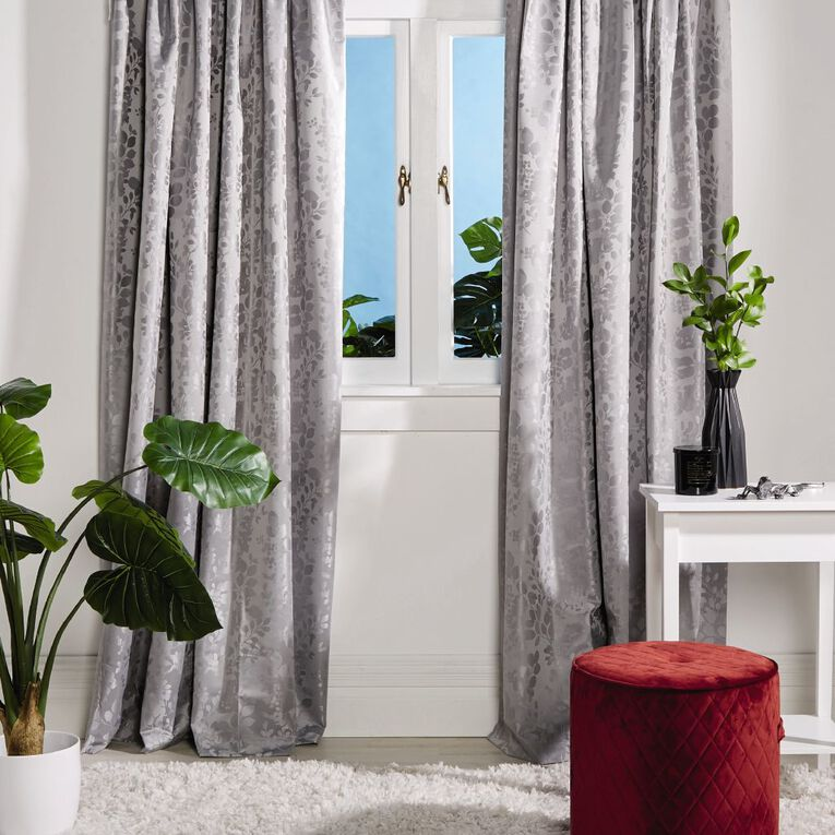 Living & Co Chateau Curtains Silver 150-230cm Wide/160cm Drop, Silver, hi-res