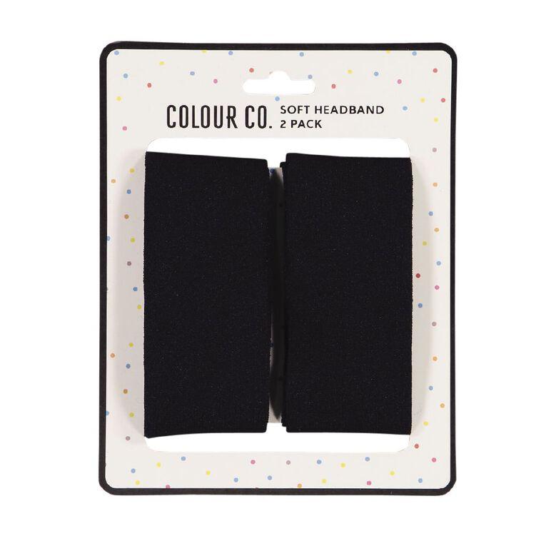 Colour Co. Hair Soft Headbands Black 2 Pack, , hi-res