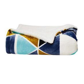 Living & Co Kids Printed Plush w Sherpa Blanket Puzzle Blue Single