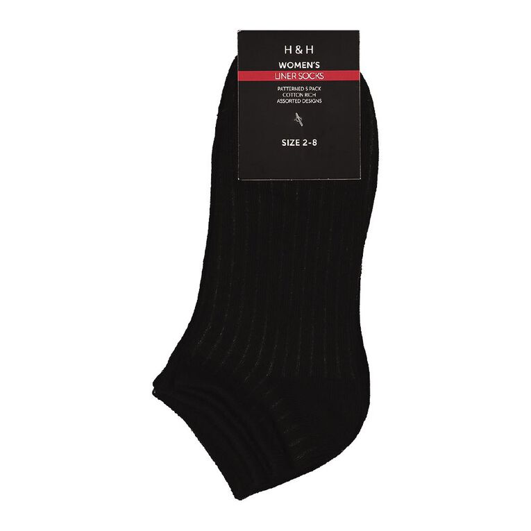 H&H Women's Liner Socks 5 Pack, Black, hi-res image number null