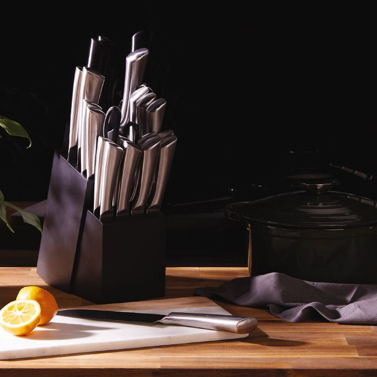 Living & Co Pinewood Knife Block Set 20 Piece Silver, , hi-res image number null
