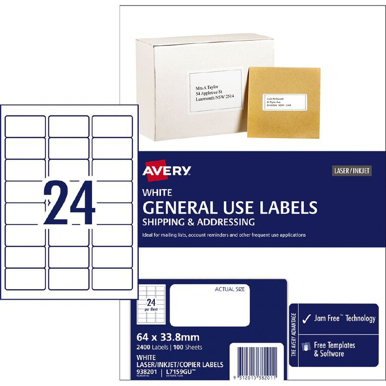 Avery General Use Labels White 2400 Labels, , hi-res