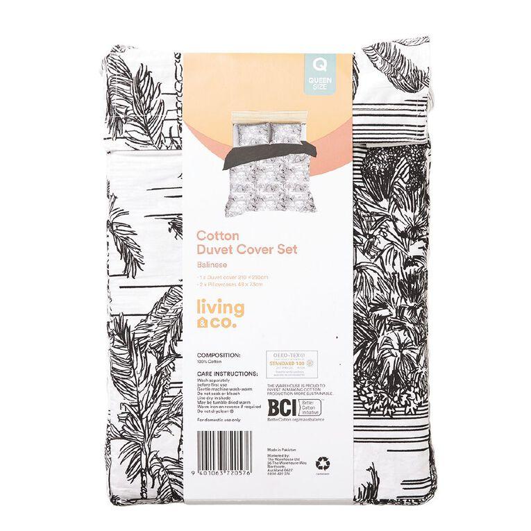 Living & Co Duvet Cover Set Cotton Print Balinese White/Black Queen, White/Black, hi-res