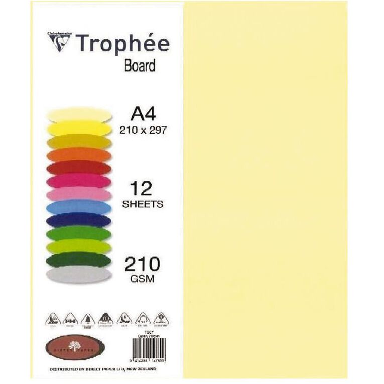 Trophee Board 210gsm 12 Pack Canary Yellow A4, , hi-res