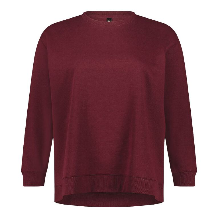 H&H Plus Women's Longline Crew Neck Sweatshirt, Red Dark, hi-res