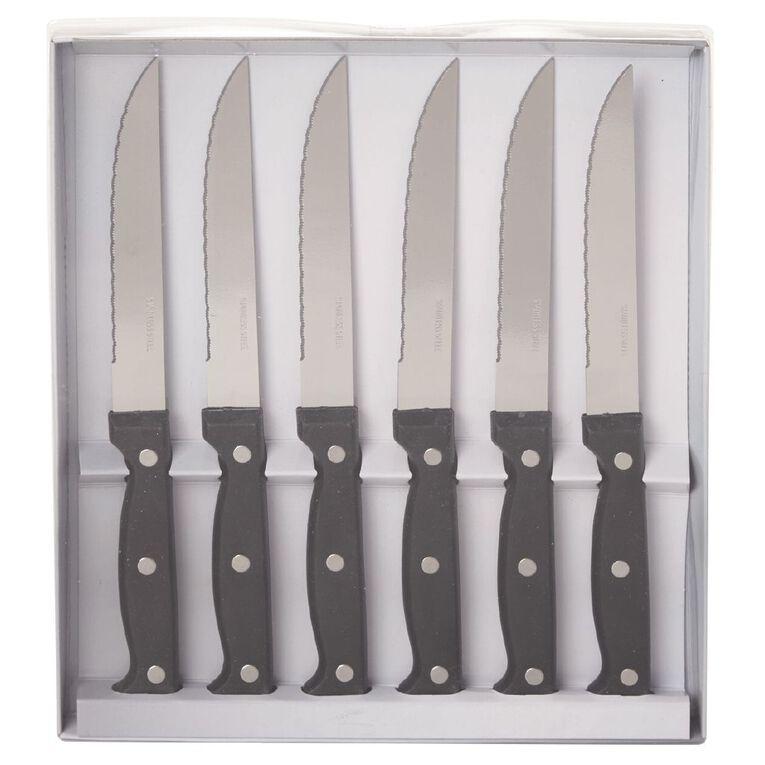 Living & Co Steak Knife Set Black 6 Piece 6 Pack, , hi-res