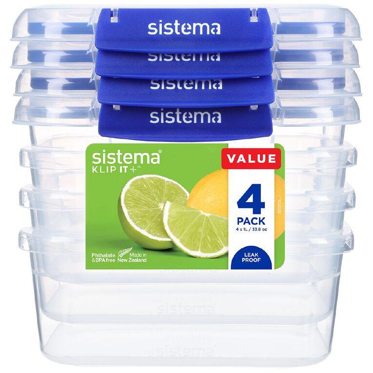 Sistema Klip It Plus Rectangular Containers 4 Pack Assorted 1L, , hi-res