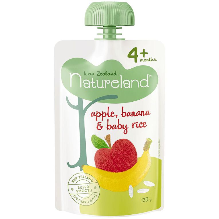 Natureland Apple Banana and Baby Rice Pouch 120g, , hi-res