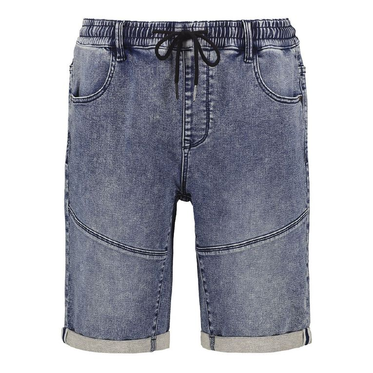 H&H Men's Elasticated Waist Knit Denim Shorts, Denim Dark, hi-res