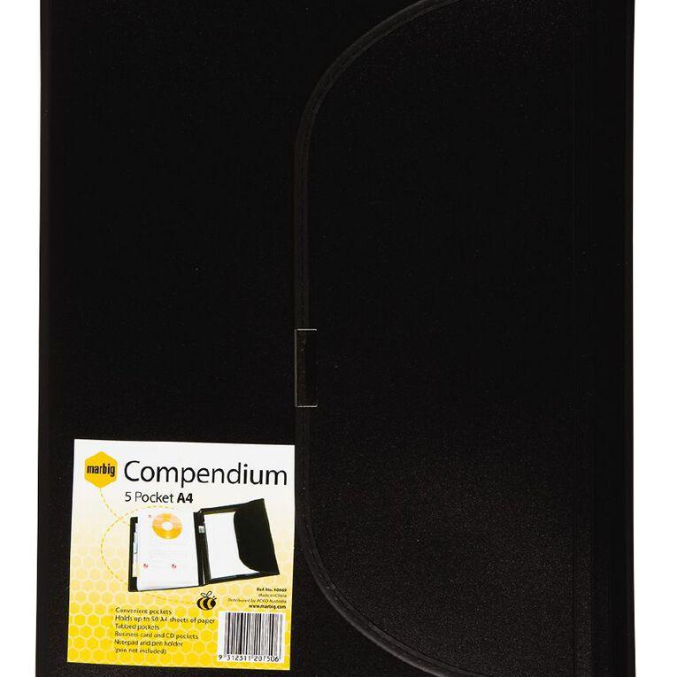 Marbig Compendium Metallic Black A4, , hi-res
