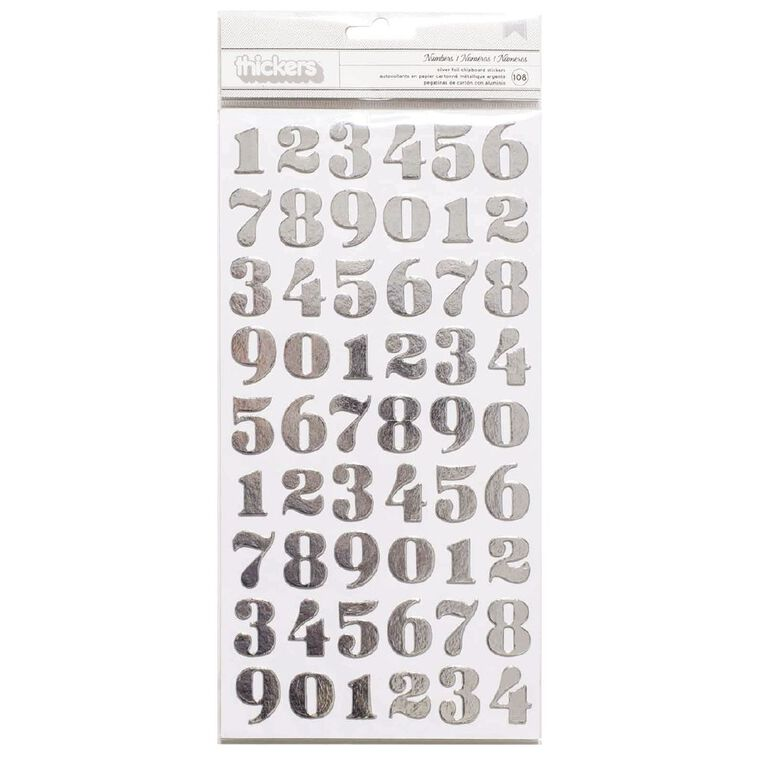 American Crafts Thickers Numbers Silver Foil, , hi-res