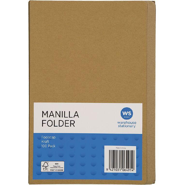 WS Manilla Folders Foolscap 100 Pack, , hi-res