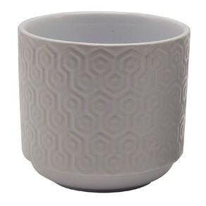 Kiwi Garden Ceramic Hex Textured Pot 11.5cm White