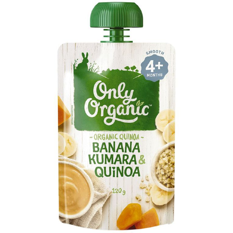 Only Organic Banana Kumara & Quinoa Pouch 120g, , hi-res