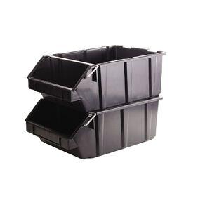 Stackable Garage Bin Black 35L