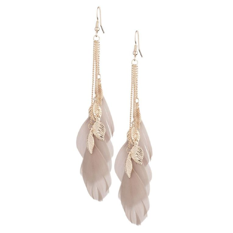 Basics Brand Feather Droplet Earrings 1 Pair Set, Rose Gold, hi-res