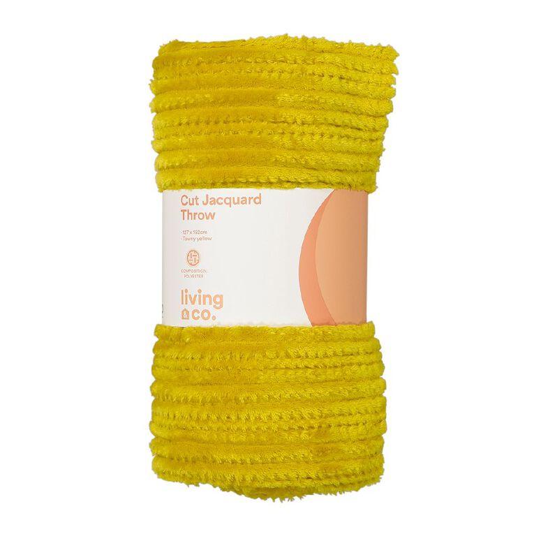 Living & Co Cut Jacquard Stripe Throw Yellow 127cm x 152cm, Yellow, hi-res