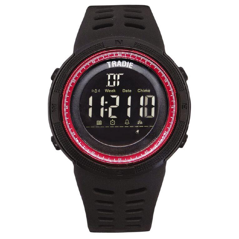 Tradie Digital Black 5ATM Water Resist Alarm Stopwatch Backlight, , hi-res image number null