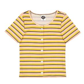 Young Original Ribbed Button Front Top