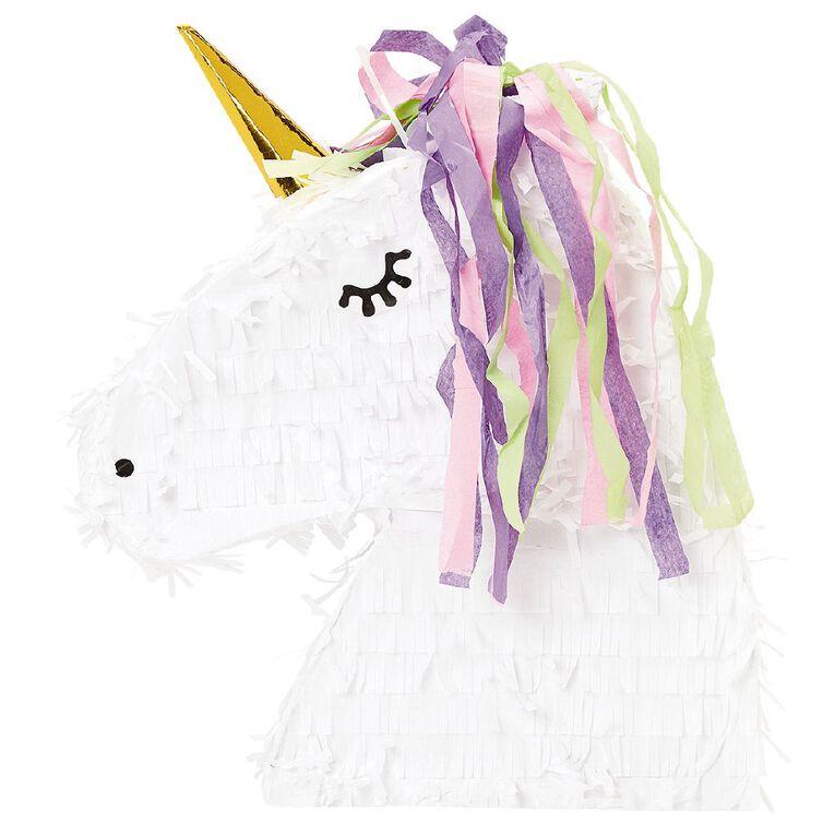 Party Inc Unicorn Head Pinata 43cm x 8.5cm x 35cm, , hi-res