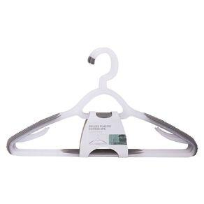 Living & Co Coat Hangers Rubber Grip Plastic White 5 Pack