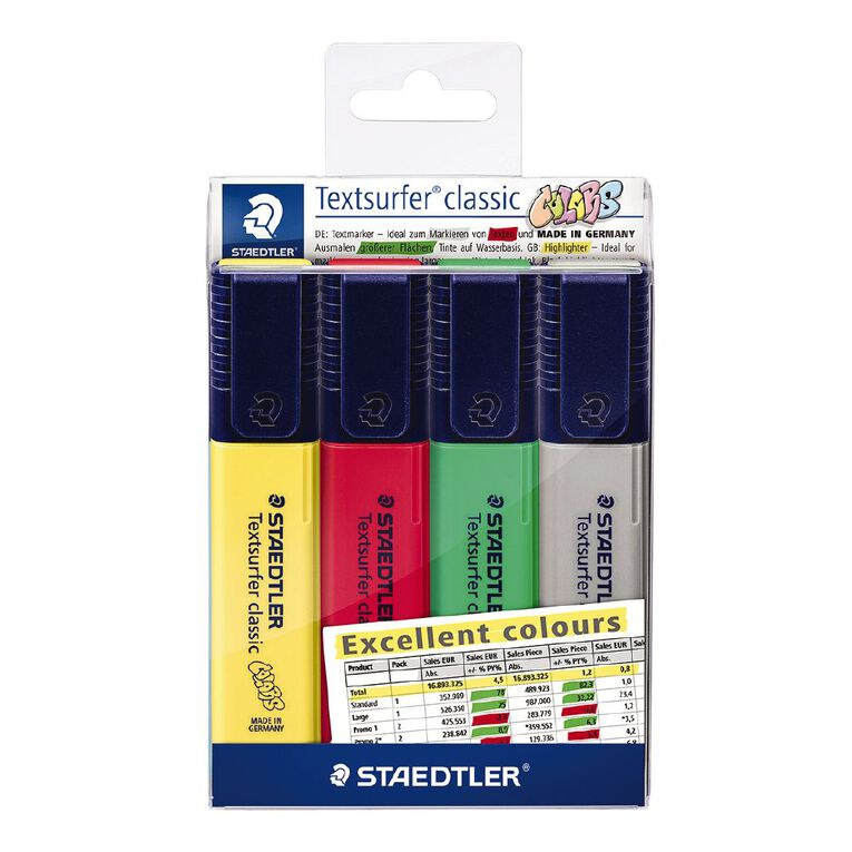 Staedtler Textsurfer Classic  Highlighter Pack of 4 - Assorted Colours, , hi-res