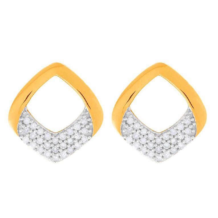 0.12 Carat Diamond 9ct Gold Twist Drop Stud Earrings, , hi-res