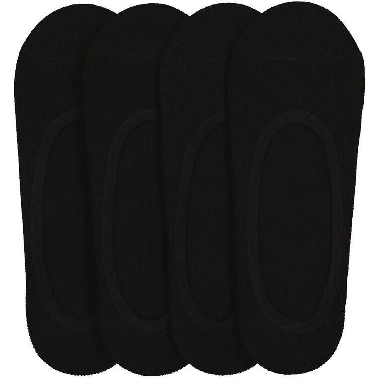 H&H Men's Footlet 4 Pack, Black, hi-res