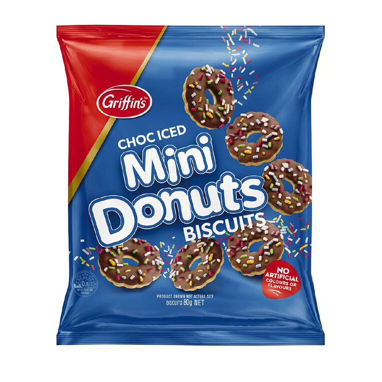 Griffin's Mini Donuts Biscuits Choc Iced 80g, , hi-res