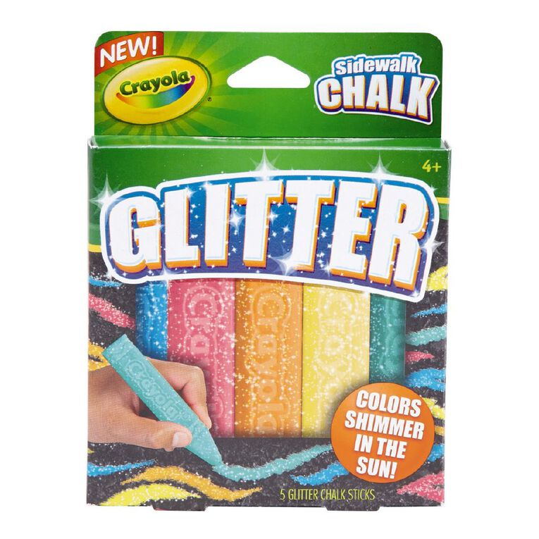 Crayola Sidewalk Chalk Glitter 5 Pack, , hi-res
