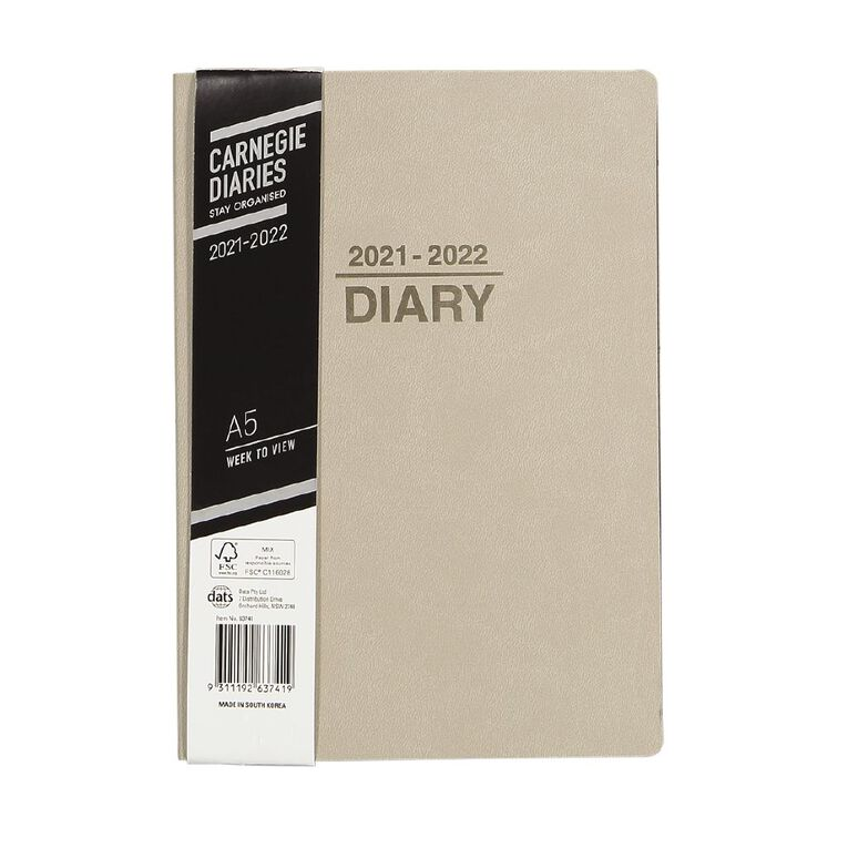 Dats Diary Mid Year 21-22 Week To View PU Brown A5, , hi-res