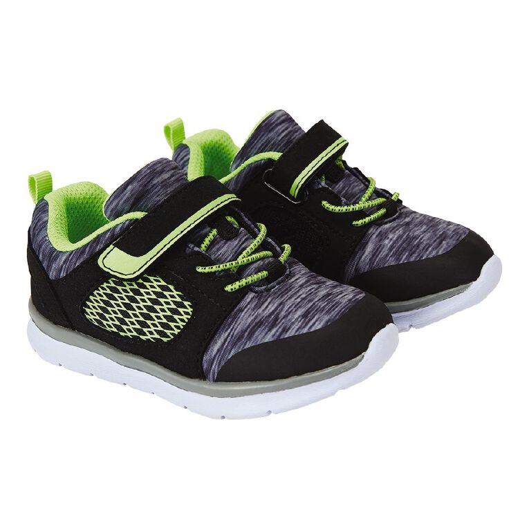 Young Original Kids' Bungy Elastic Strap Shoes, Black/Grey, hi-res