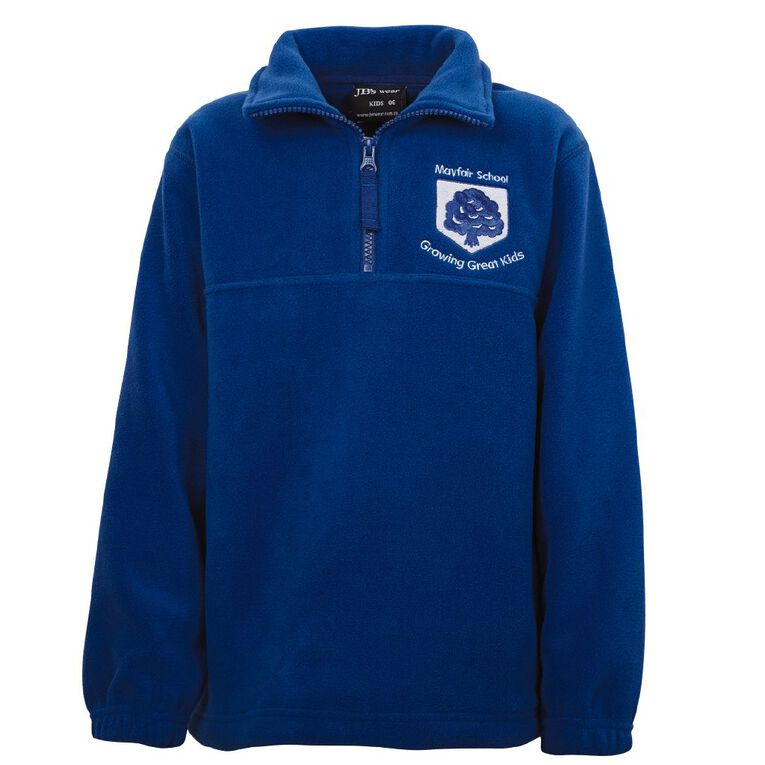 Schooltex Mayfair School 1/2 Zip Polar Fleece Top with Embroidery, Royal, hi-res
