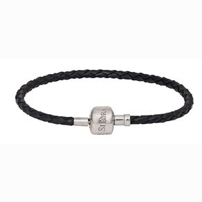Ane Si Dora Sterling Silver and Leather Bracelet