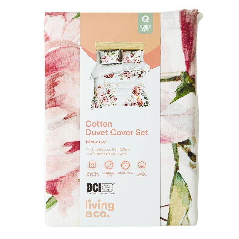 Living & Co Duvet Cover Set Meadow White King, White, hi-res