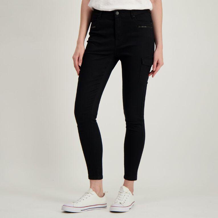 H&H Women's Zip Cargo Jeans, Black, hi-res
