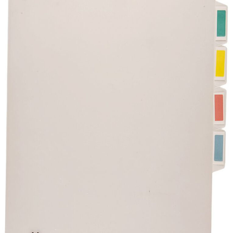 Office Supply Co File L-Shaped Pockets 4 Tab Indexed Single Clear, , hi-res