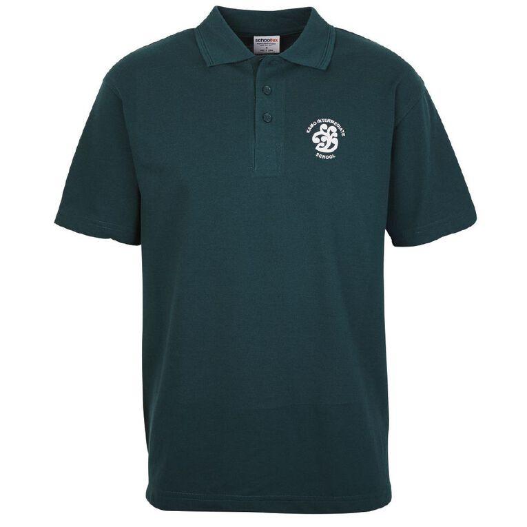 Schooltex Kamo Intermediate Short Sleeve Polo with Transfer, Bottle Green, hi-res