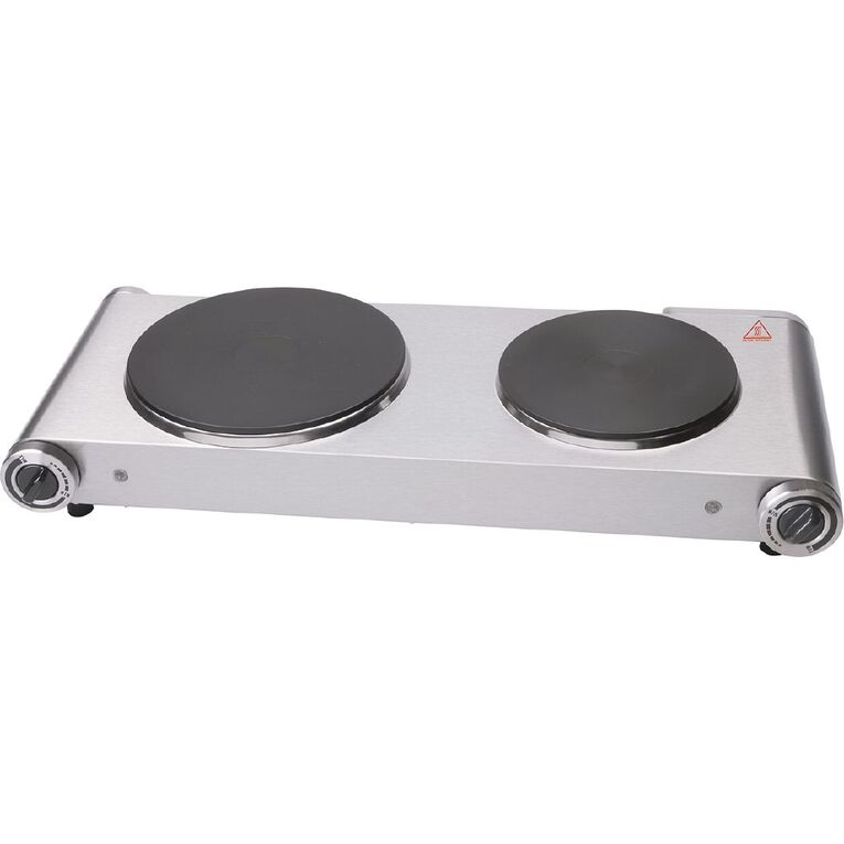 Living & Co Double Hot Plate 2400w Stainless Steel, , hi-res