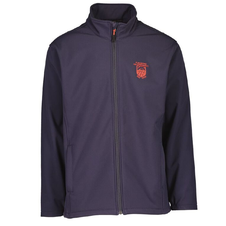 Schooltex Pukekohe Intermediate Softshell Jacket with Embroidery, Navy, hi-res