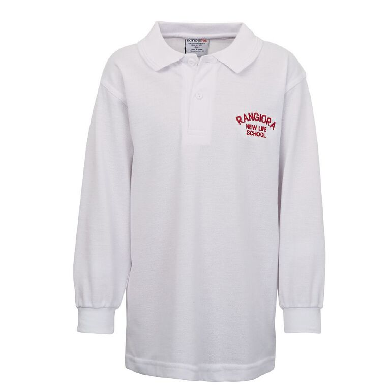 Schooltex Rangiora New Life Long Sleeve Polo with Embroidery, White, hi-res