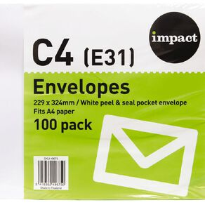 WS Envelope E31/C4 Peel & Seal 100 Pack