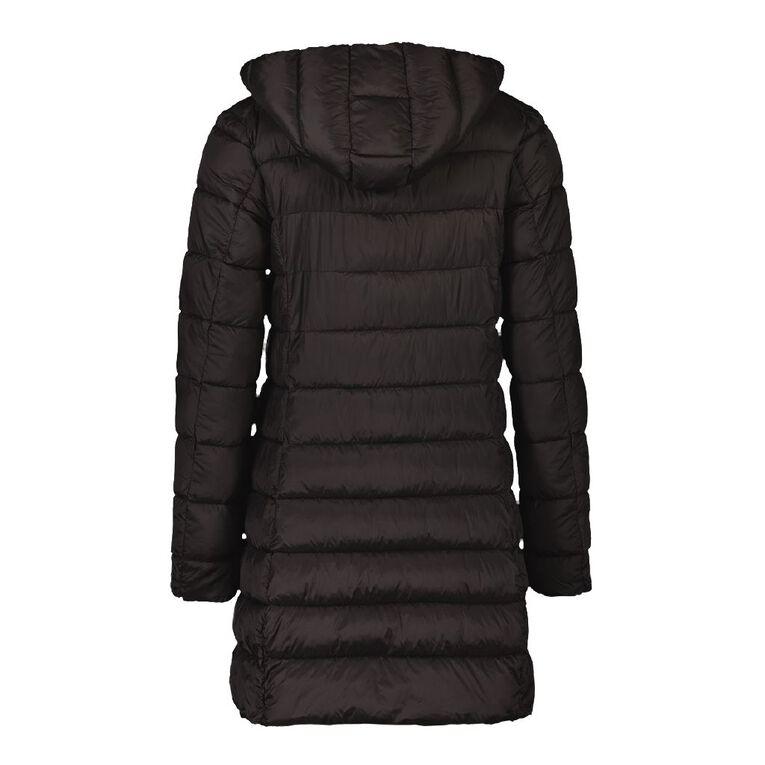 Active Intent Women's Long Line Puffer Jacket, Black, hi-res
