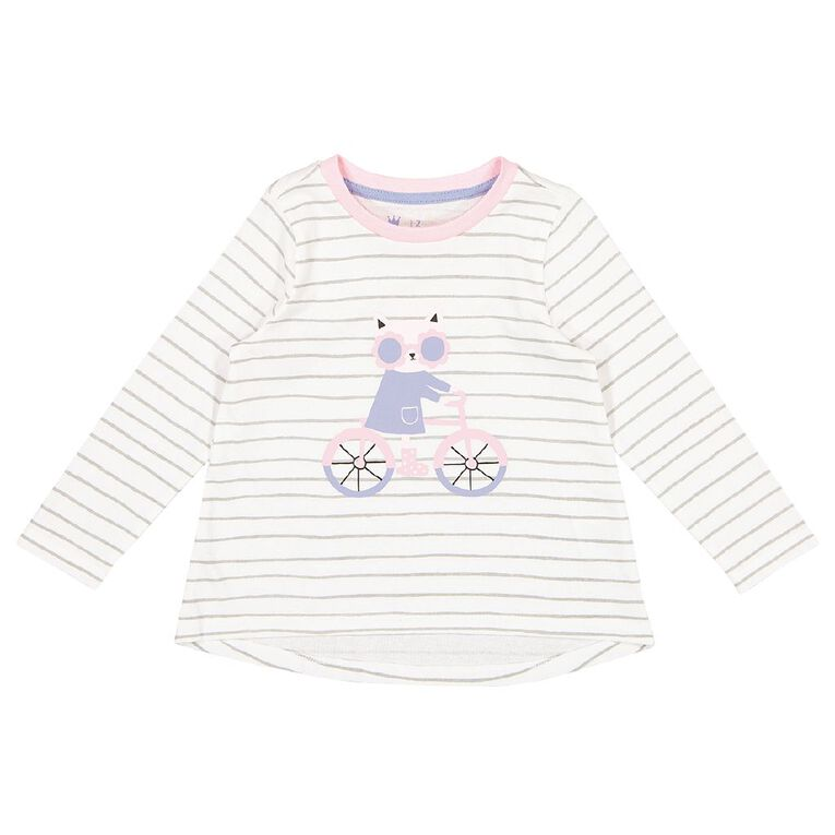 Young Original Toddler Long Sleeve All Over Print Tee, White CAT, hi-res
