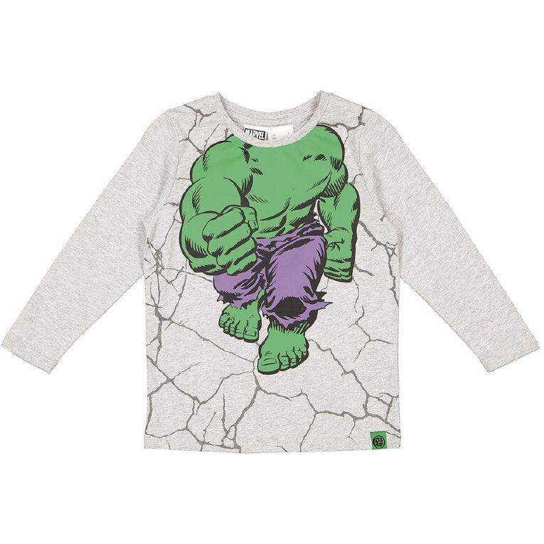 Incredible Hulk Marvel Long Sleeve 1-Up Print Tee, Grey Marle, hi-res image number null