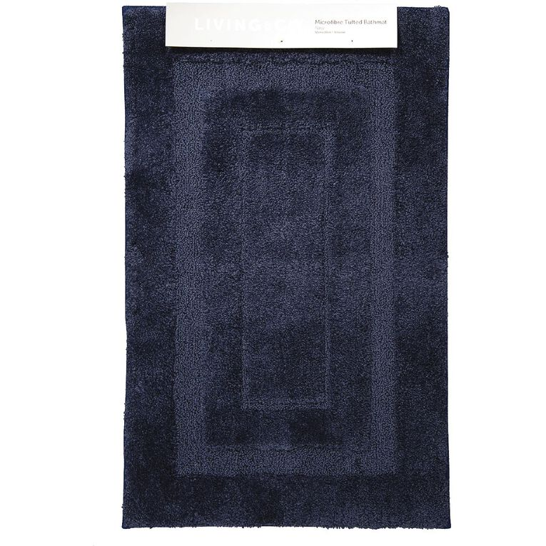 Living & Co Bath Mat Vienna Tufted Microfibre Navy 50cm x 80cm, Navy, hi-res image number null