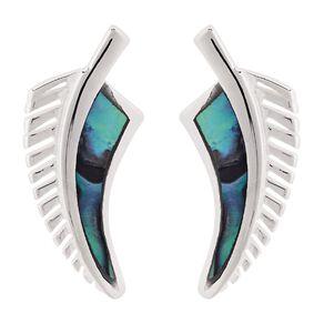 Sterling Silver Paua Fern Stud Earrings